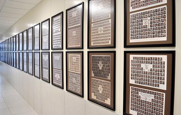 Senior Class Composite photos hanging at ISU CVM.